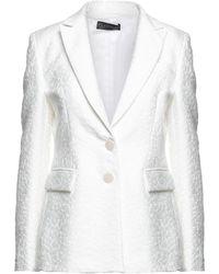 Satine Label Suit Jacket - White