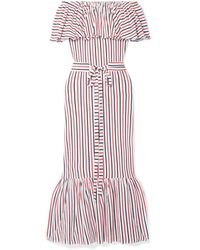 MDS Stripes Rebecca Off-the-shoulder Ruffled Striped Cotton-jersey Midi Dress - Red