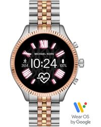 Michael Kors Montre connectée Access Gen 4 MKGO rose avec bracelet en silicone - Métallisé