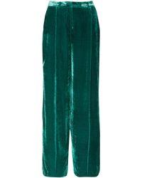 Zuhair Murad Satin-trimmed Velvet Wide-leg Pants - Green