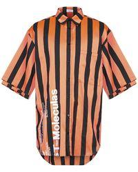 Marcelo Burlon Warning Striped Shirt - Orange