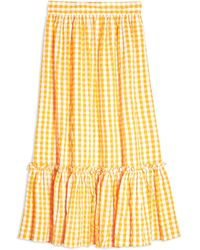 TOPSHOP Gingham Ruffle Midi Skirt - Orange