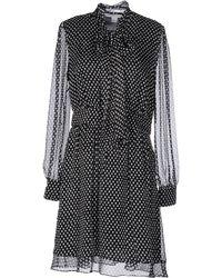 Diane von Furstenberg Arabella Tie Neck Silk Dress - Black