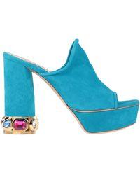 Casadei Embellished heel mules - Bleu
