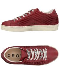 Leather Crown Low-tops & Trainers - Red