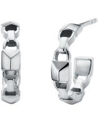 Michael Kors - Mercer Link Sterling Silver Hoop Earrings - Lyst