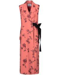 Erdem Floral Embroidered Sleeveless Tie-waist Coat - Pink