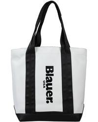 Blauer Handbag - White