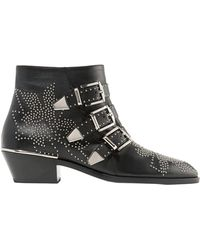 Chloé Susanna Black Leather Ankle Boots
