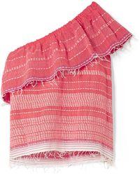 lemlem Saba One-shoulder Embroidered Cotton-gauze Top Red