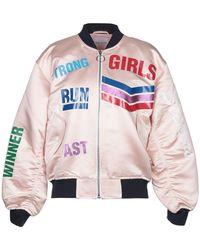 Mira Mikati Printed Satin Bomber Jacket - Pink