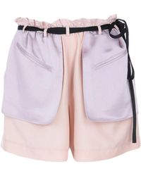 Valentino Crêpe And Satin Shorts - Pink