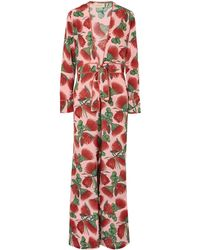 Adriana Degreas Fiore Floral Deep V-neck Jumpsuit - Red