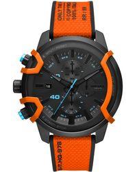 DIESEL Griffed Chronograph Orange Canvas Strap Watch 48mm