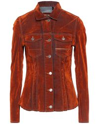 Care Label Denim Outerwear - Red