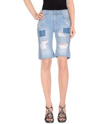 Miss Miss By Valentina - Denim Bermudas - Lyst