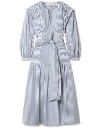 Sea Riveria Striped Cotton-blend Poplin Midi Dress - Blue