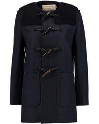 Maison Kitsuné Bouclé-paneled Wool Duffle Coat Midnight Blue Size 36