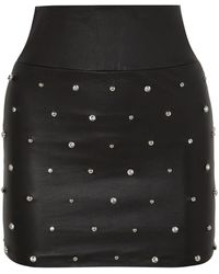 SPRWMN Crystal-embellished Leather Mini Skirt - Black