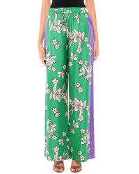 P.A.R.O.S.H. Floral Pants In Green Silk