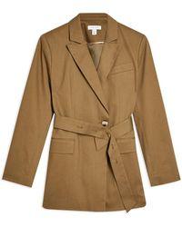 TOPSHOP Overcoat - Green