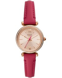 Fossil Carlie Mini Rose Gold Tone 3 Hand Movement, Fuschia Leather Strap Watch 28mm - Pink