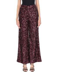 Victoria, Victoria Beckham Sequined Crepe De Chine Wide-leg Trousers Burgundy - Purple