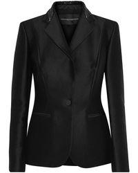 Carolina Herrera Woman Bead-embellished Cotton And Silk-blend Blazer Black