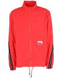PUMA Jacke mit Knitteroptik - Rot