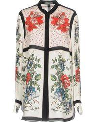 Alexander McQueen - Ivory Floral-print Silk Shirt - Size 8 - Lyst