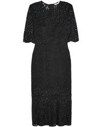 Veronica Beard Linden Fluted Corded Lace Midi Dress Black