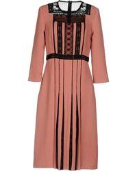 Bottega Veneta - 3/4-sleeve Lace & Pleated Crepe Dress - Lyst