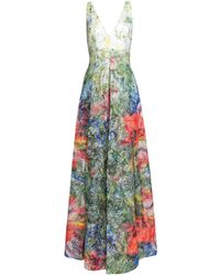 Alice + Olivia Chantal Sleeveless Pleated Floral Jacquard Gown - Green