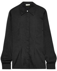 By Malene Birger Stretch-silk Shirt Black