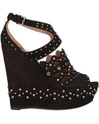 Alaïa - Alaïa Woman Studded Suede Wedge Sandals Black - Lyst