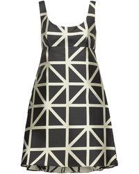 MILLY - Woman Roxanne Flared Satin-jacquard Mini Dress Black - Lyst