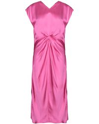 Helmut Lang Twisted Front Satin Dress - Pink