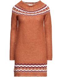 Pink Memories Short Dress - Brown