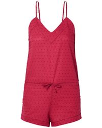Three J Nyc Rosie Swiss-dot Cotton Playsuit - Red