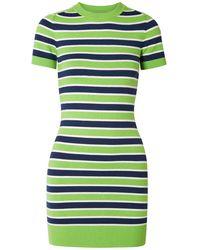 JoosTricot Striped Stretch Cotton-blend Mini Dress - Green