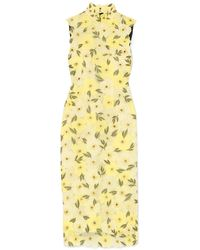 Erdem - Josie Embellished Embroidered Chiffon Midi Dress Pastel Yellow - Lyst