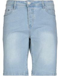 Solid Denim Shorts - Blue