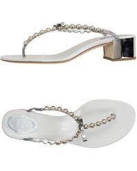 Rene Caovilla Toe Strap Sandal - Metallic