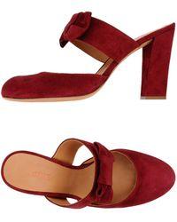 Sandale compensée en daim rouge DOLCE&GABBANA
