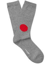 Blue Blue Japan Short Socks - Grey