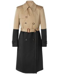 Alexander McQueen Colour-block Cotton-gabardine And Wool Trench Coat - Natural
