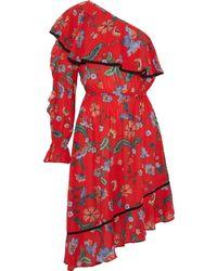Love Sam One-shoulder Asymmetric Floral-print Crepe Dress Red