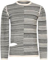 Rick Owens Two-tone Knit Sweater - Black