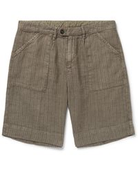 Massimo Alba Wide-leg Striped Linen Shorts - Green