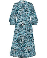 Cefinn Pussy-bow Printed Silk Crepe De Chine Dress - Blue